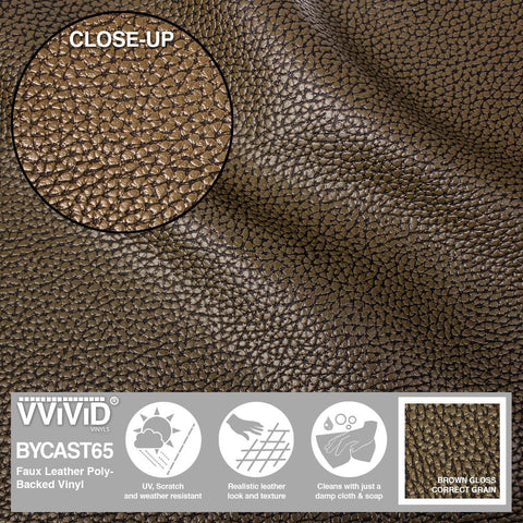 Bycast65 Brown Correct-Grain Pattern Faux Leather Marine Vinyl Fabric display