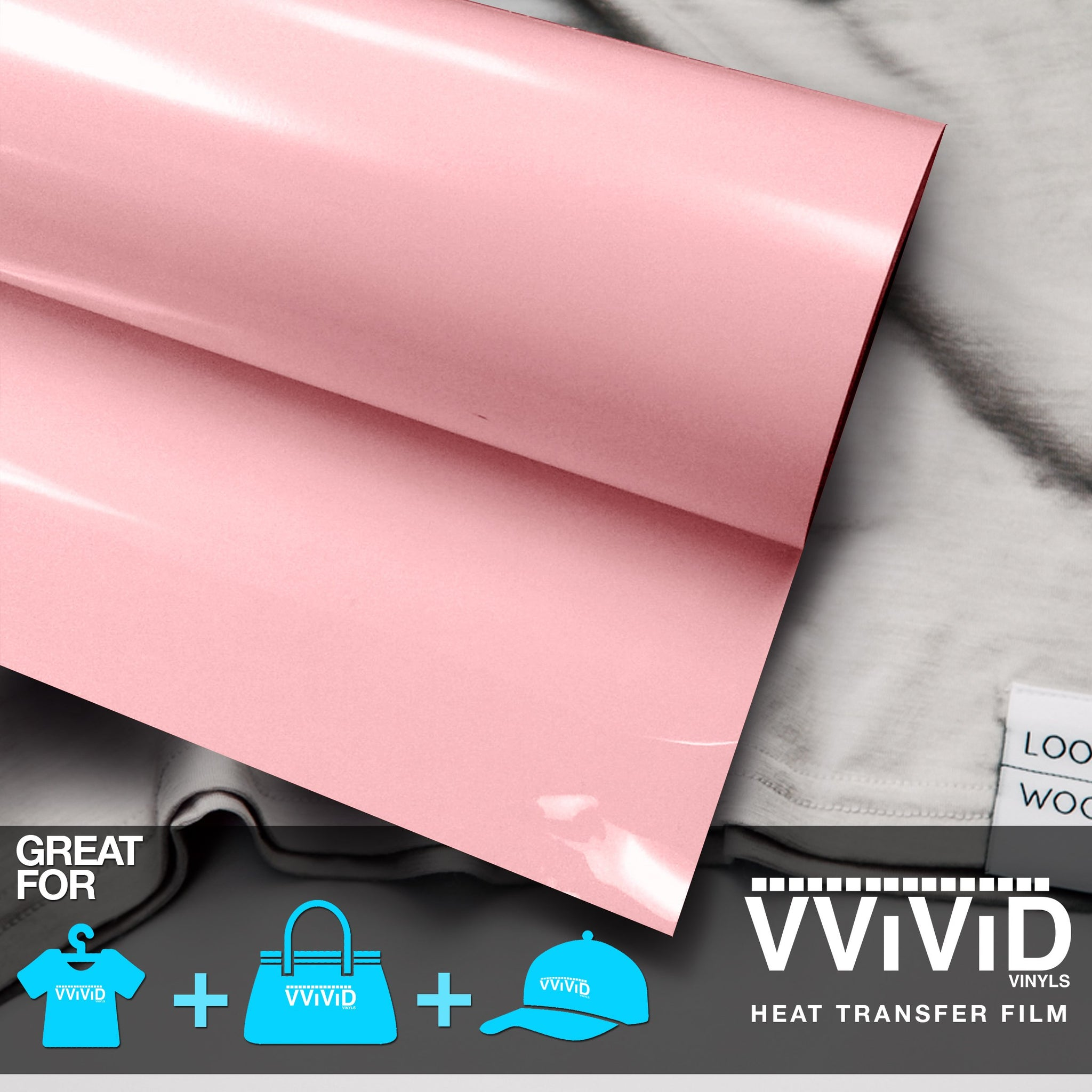 "VViViD Light Pink Heavy-Duty Heat Transfer Vinyl 12"" x 36"""