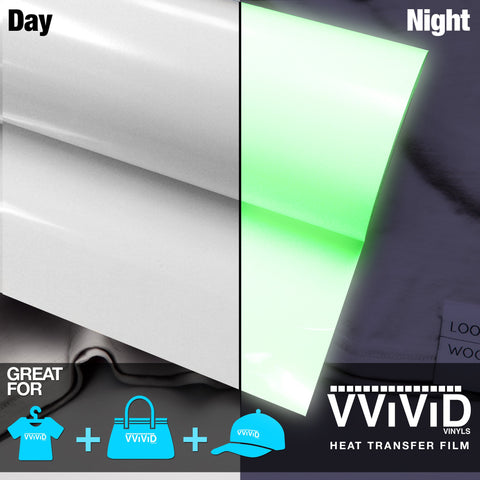 "VViViD Glow-in-the-Dark Green Heavy-Duty Heat Transfer Vinyl 12"" x 36"""
