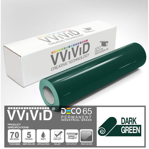 DECO65 Gloss Dark Green Permanent Craft Vinyl Film | Vvivid Canada