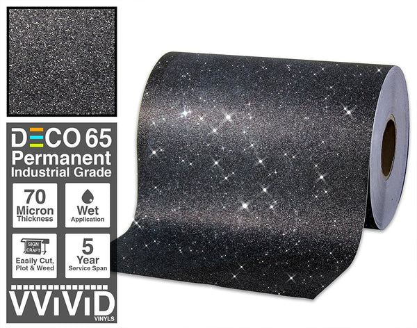 Deco65 Black Glitter Craft Vinyl