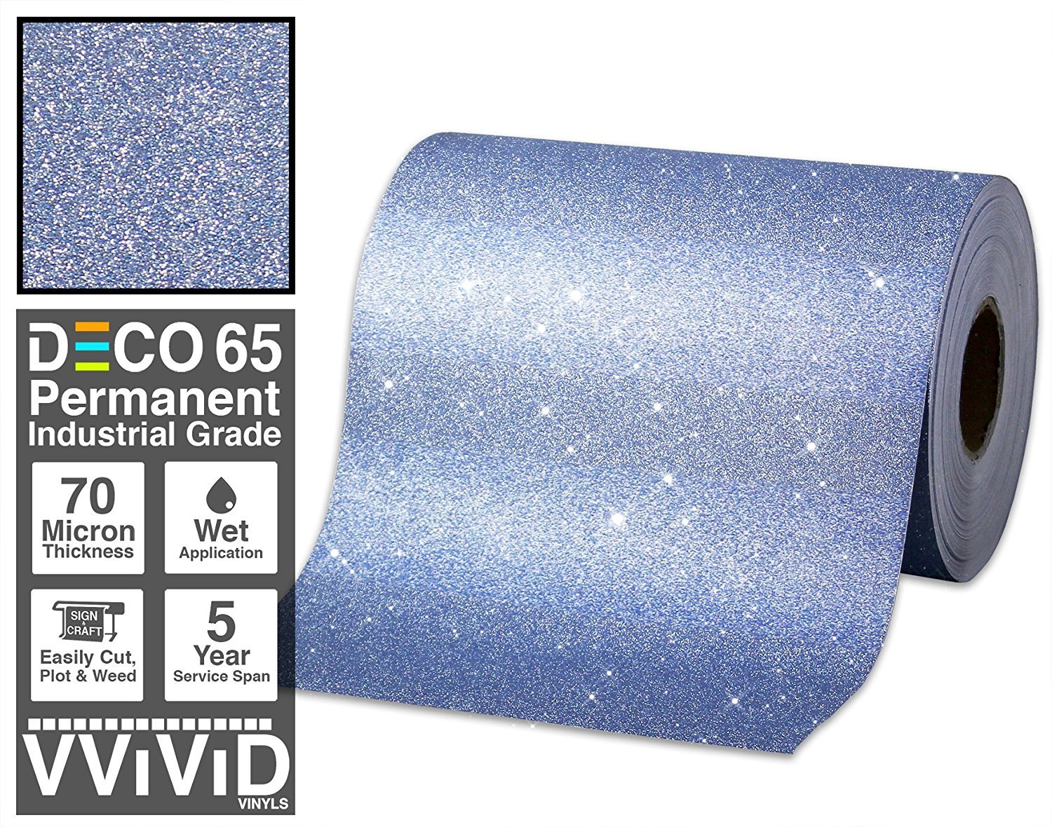 Deco65 Blue Glitter Craft Vinyl