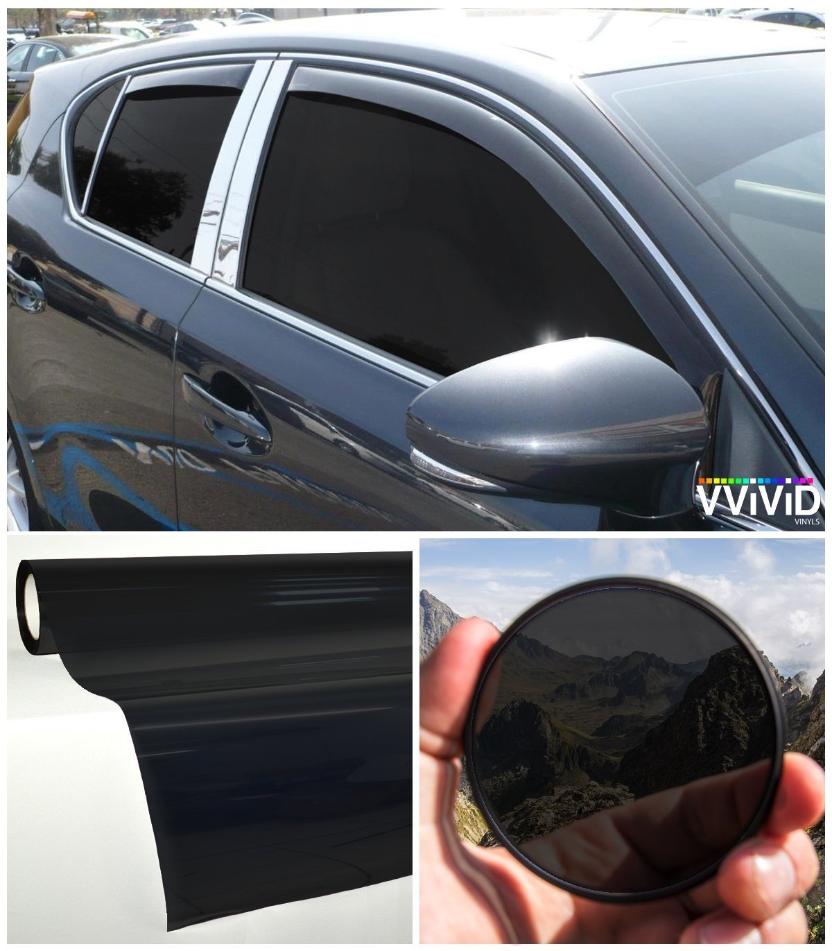 VViViD Dark Black Transparent Window Tint DISPLAY