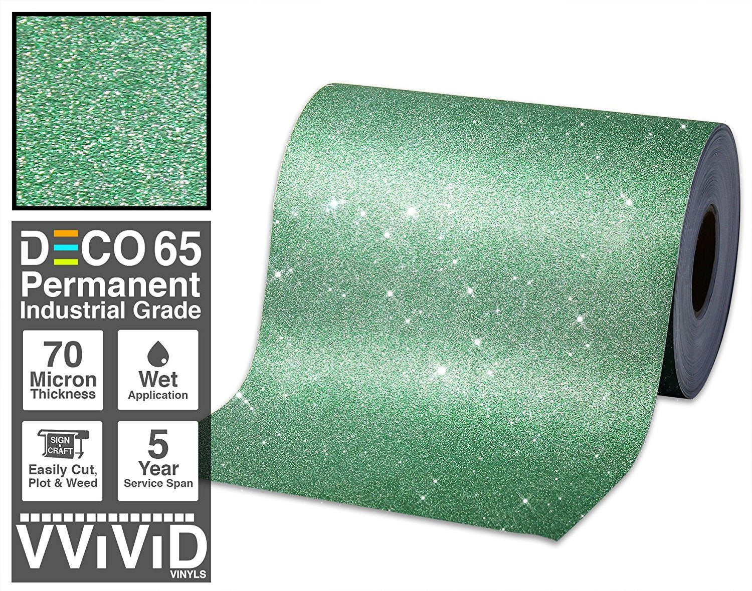 VViViD Glitter Green DECO65 Permanent Adhesive Craft Vinyl Roll for Cricut, Silhouette & Cameo