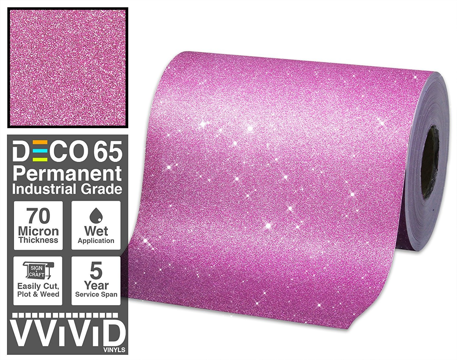 Deco65 Pink Glitter Craft Vinyl