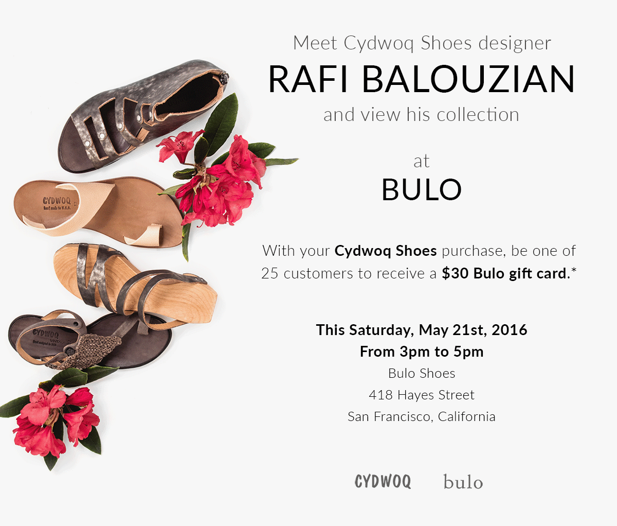 Meet Cydwoq Shoes designer Rafi Balouzian this Saturday May 21st