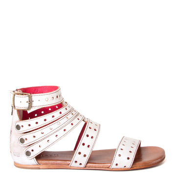 Bed Stu Artemis. Women's gladiator sandal, in perforated natural white leather, back zipper and adjustable ankle leather strap. Side View.