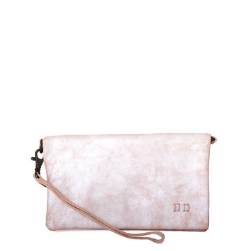 Bed Stu Cadence Wallet, Clutch and Crossbody Women's bag, purse in natural white leather. Side view.