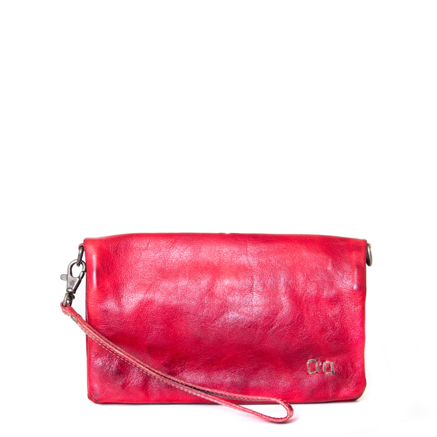 Bed Stu Cadence Leather Wallet Clutch Women's bag, purse in red leather. Front view.