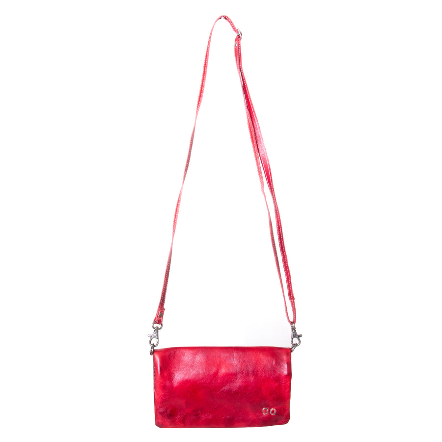 Bed Stu Cadence Leather Wallet Clutch Women's bag, purse in red leather. Front view, with adjustablestrap.