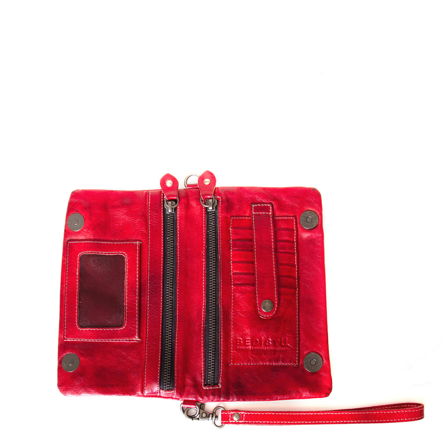 Bed Stu Cadence Leather Wallet Clutch Women's bag, purse in red leather. Open view, with zip pockets and Credit card holder.