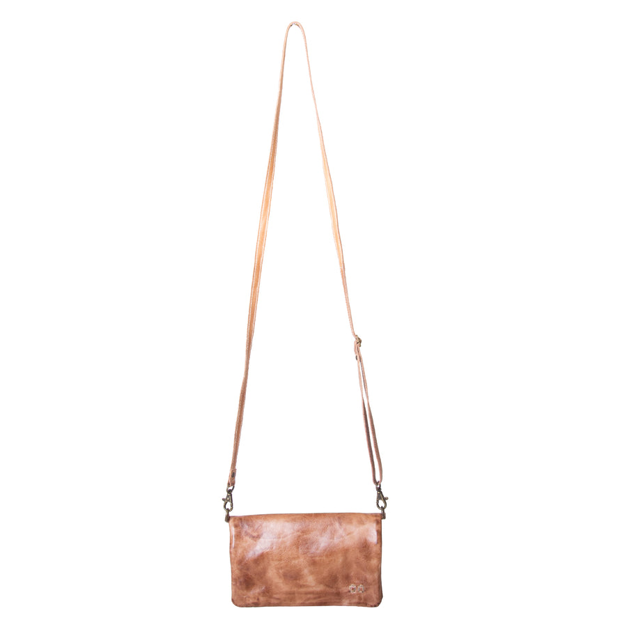 Bed Stu Cadence Wallet, Clutch Women's bag, purse in tan leather. Front view with attached leather strap.