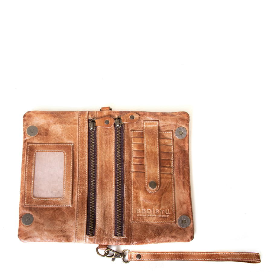 Bed Stu Cadence Wallet, Clutch Women's bag, purse in tan leather. Open view with attached leather strap.