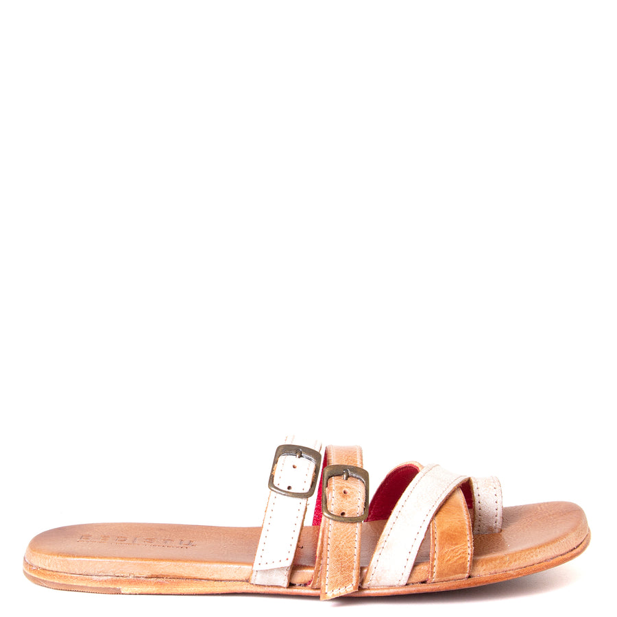 Bed Stu Hilda. Women's sandal, slide in nectar lux tan rustic leather, toe ring and adjustable buckles. Side view.