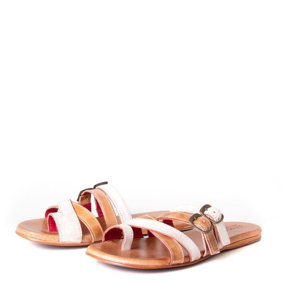 Bed Stu Hilda. Women's sandal, slide in nectar lux tan rustic leather, toe ring and adjustable buckles. Front view, pair.