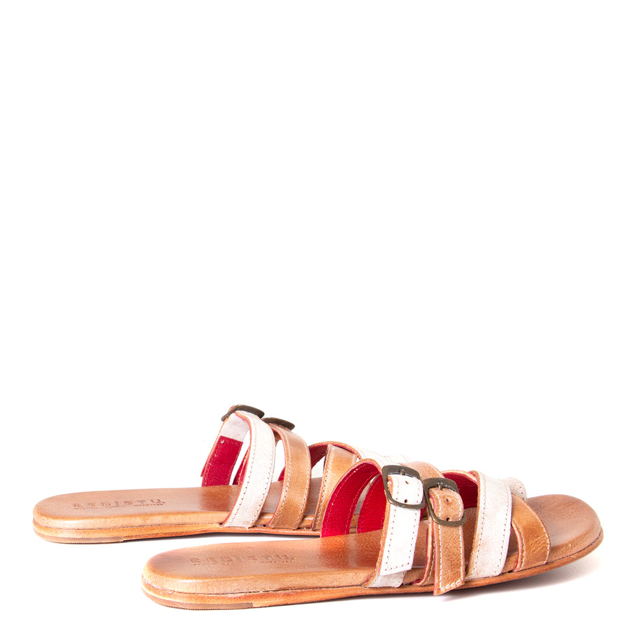 Bed Stu Hilda. Women's sandal, slide in nectar lux tan rustic leather, toe ring and adjustable buckles. Back view, pair.