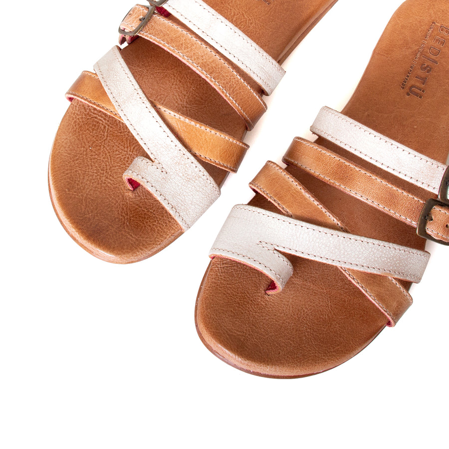 Bed Stu Hilda. Women's sandal, slide in nectar lux tan rustic leather, toe ring and adjustable buckles. Top view, pair.