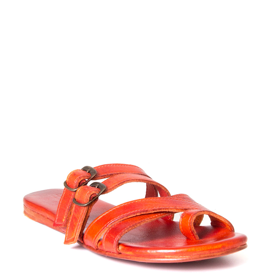 Bed Stu Hilda. Women's sandal, slide in orange red leather, toe ring and adjustable buckles. Front view.