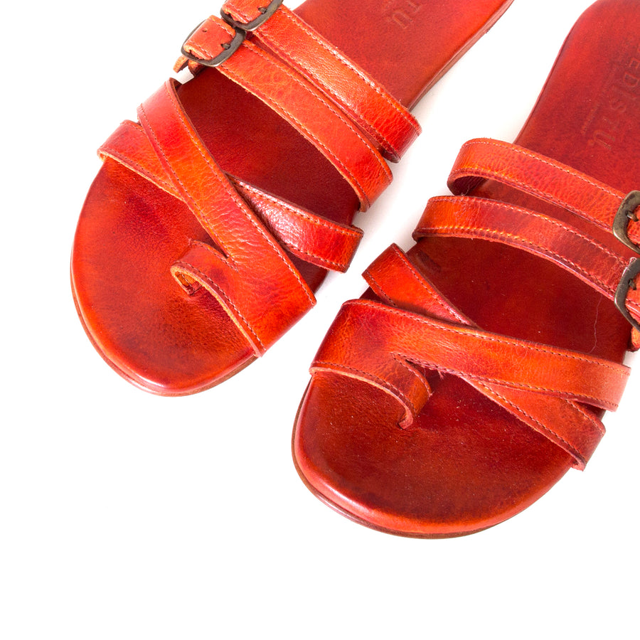 Bed Stu Hilda. Women's sandal, slide in orange red leather, toe ring and adjustable buckles. Top view, pair.