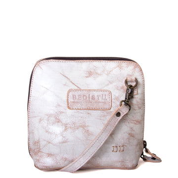 Bed Stu Ventura. Leather Crossbody Women's bag, in natural/white. Front view.