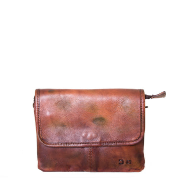 Bed Stu Ziggy. Women's clutch, cross body in Brown leather. Front view.