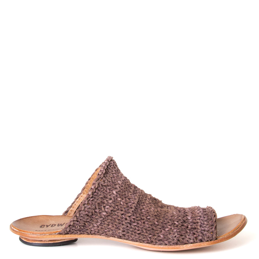 Cydwoq Asia. Women's Mules in woven Brown leather. Anatomical footbed for arch support and comfort. Made in California. Side view.