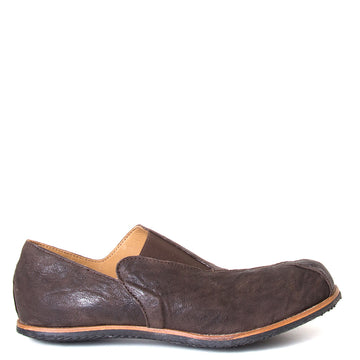 Cydwoq Charge. Men's slip-on shoes, Dark Brown leather, anatomically design sole for arch support,  Rubber sole. Made in California, USA. Side View.