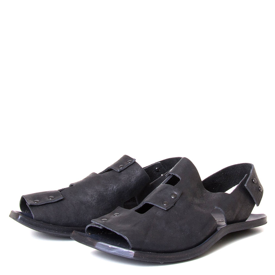 Cydwoq Forecast. Men's Black Sandals, leather back strap. Made in California. Front view, pair.