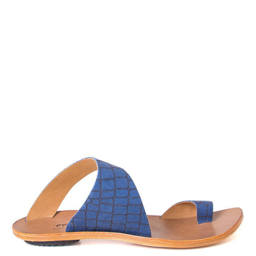 Cydwoq Thong , Hillary Sandal Blue snake embossed leather single strap and toe ring. Made in California. Side view.