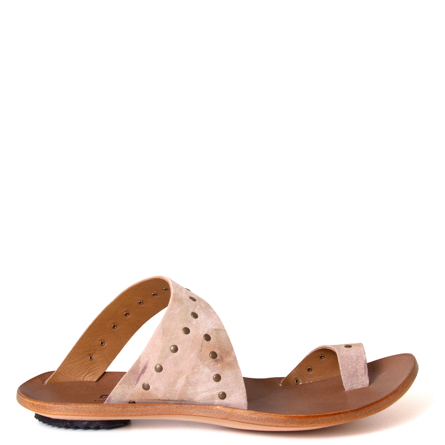 Cydwoq Thong. Women's sandals in Taupe Suede / Rivets. Leather sole, low rubber heel. Anatomical footbed for arch support and comfort. Made in California. Side view.