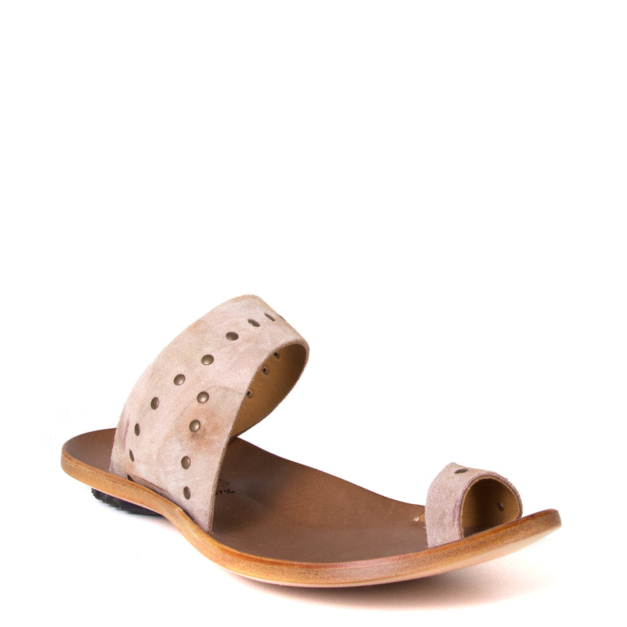 Cydwoq Thong. Women's sandals in Taupe Suede / Rivets. Leather sole, low rubber heel. Anatomical footbed for arch support and comfort. Made in California. Front view.