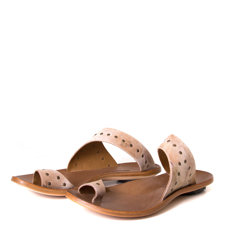 Cydwoq Thong. Women's sandals in Taupe Suede / Rivets. Leather sole, low rubber heel. Anatomical footbed for arch support and comfort. Made in California. Front view, pair.