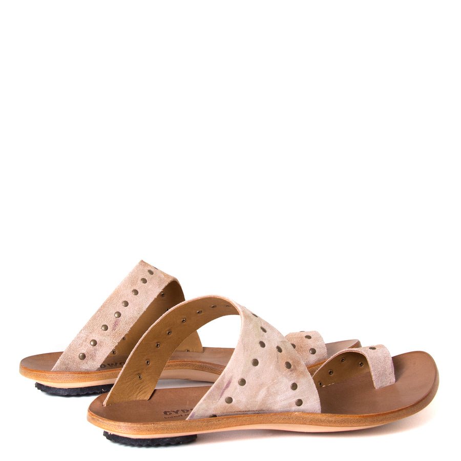 Cydwoq Thong. Women's sandals in Taupe Suede / Rivets. Leather sole, low rubber heel. Anatomical footbed for arch support and comfort. Made in California. Back view, pair.
