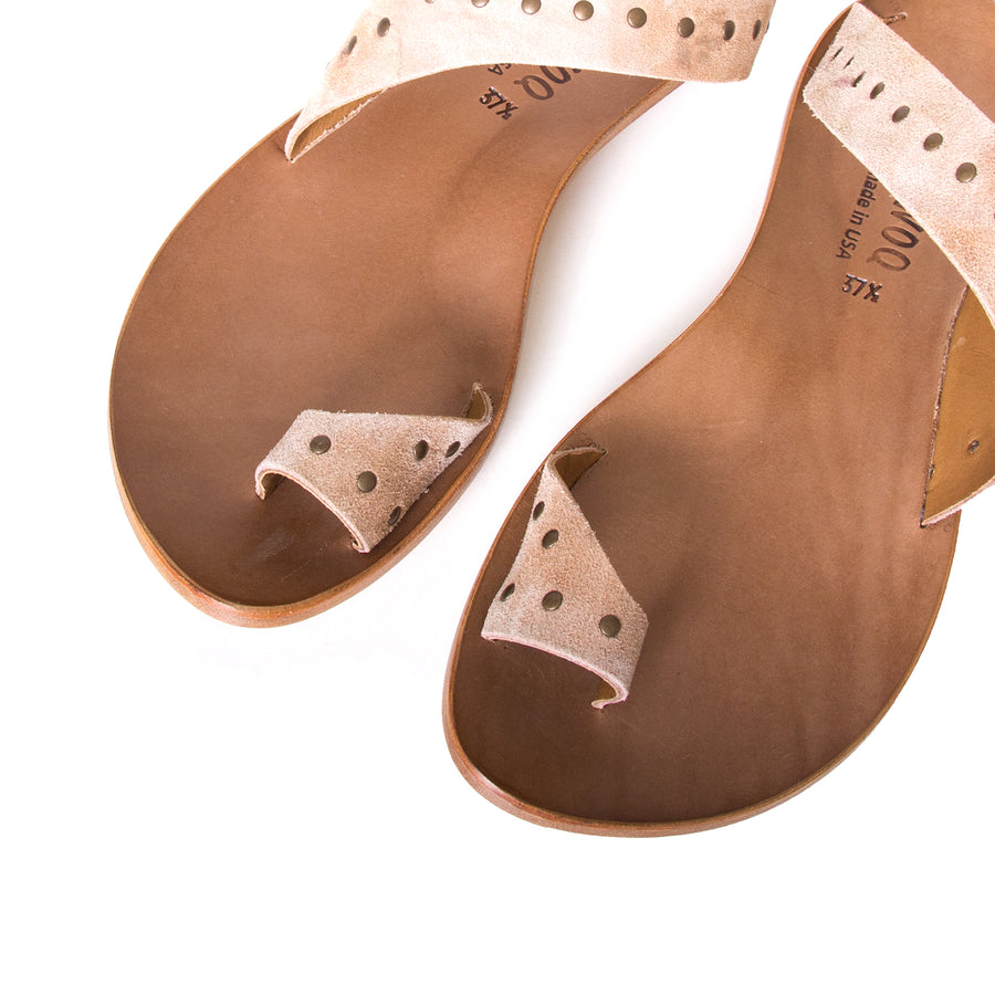 Cydwoq Thong. Women's sandals in Taupe Suede / Rivets. Leather sole, low rubber heel. Anatomical footbed for arch support and comfort. Made in California. Top view, pair.