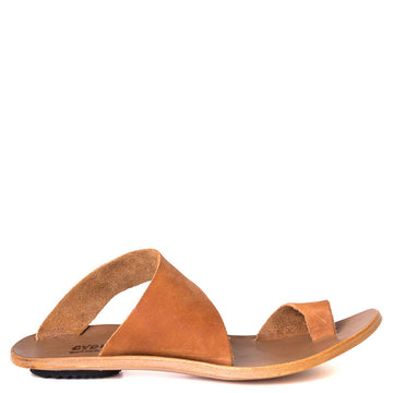 Cydwoq Thong , Hillary Sandal Tan leather single strap and toe ring. Made in California. Side view.