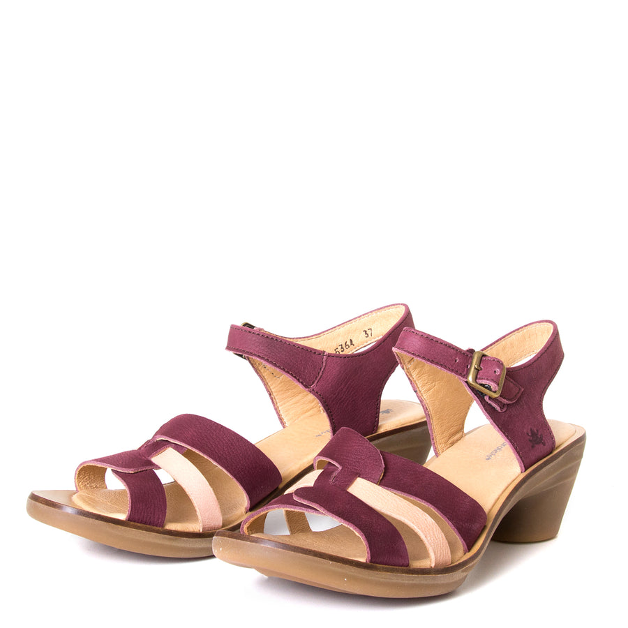 El Naturalista Lola. Women's red purple leather sandals, 2-inch rubber heel, anatomical footbed for comfort. Made in Spain. Front view, pair.