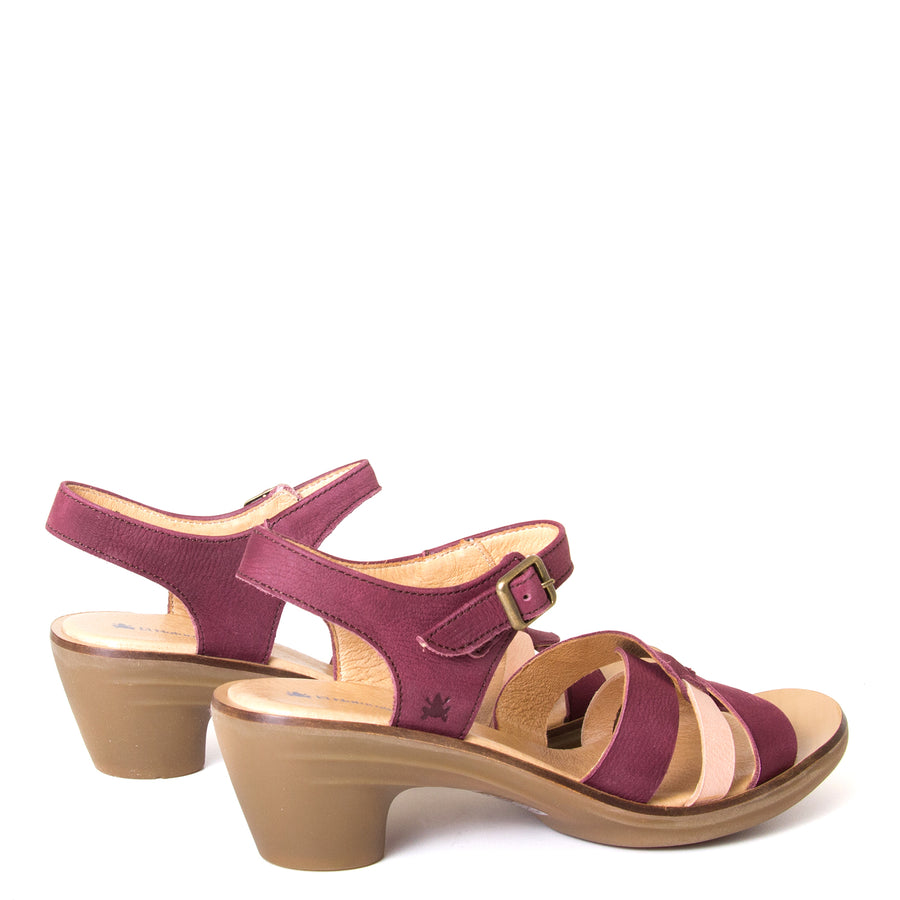 El Naturalista Lola. Women's red purple leather sandals, 2-inch rubber heel, anatomical footbed for comfort. Made in Spain. Back view, pair.