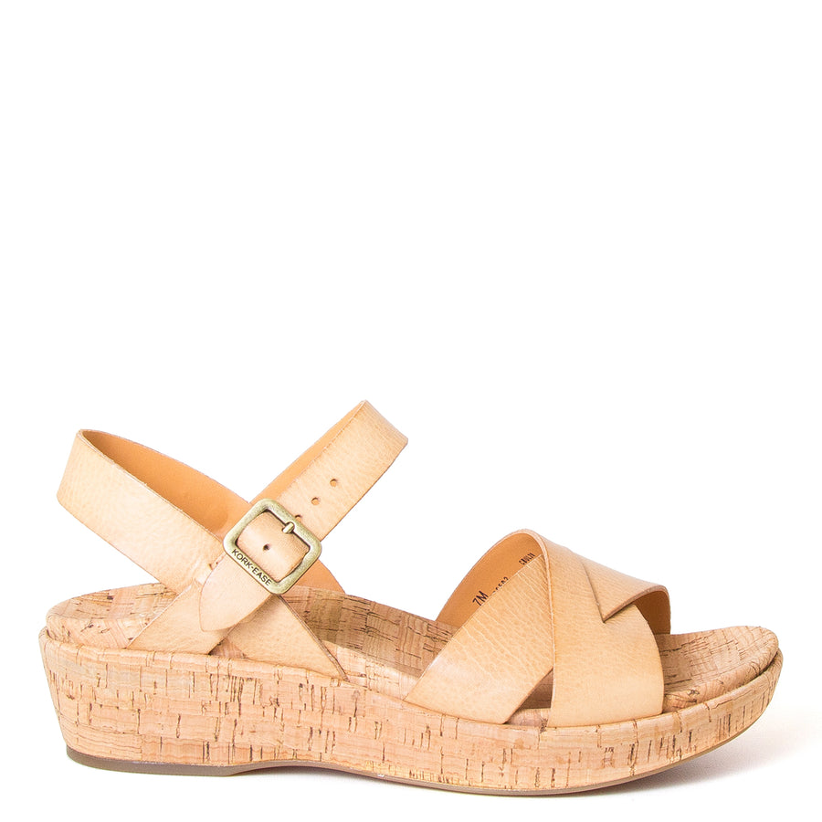 Myrna 2.0, by Kork-Ease®. Women's Leather Sandals in Natural, slingback, with side Buckle, wide crossed straps. Cushioned anatomical cork footbed for comfort and Style. Imported. 2