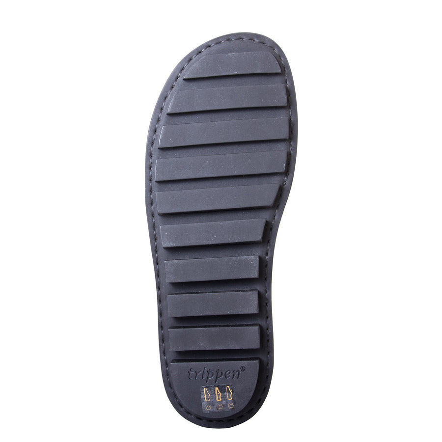 Trippen Clinch. Men's sandal, Soft Black leather upper, velcro strap around heel, flexible rubber sole. Made in Germany. Bottom view.