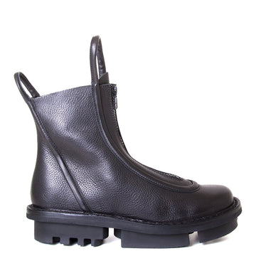 Trippen Micro. Over the ankle Women's black leather boot. Front zipper, leather pull-up loops. 1.5-inch Heel. Side View.