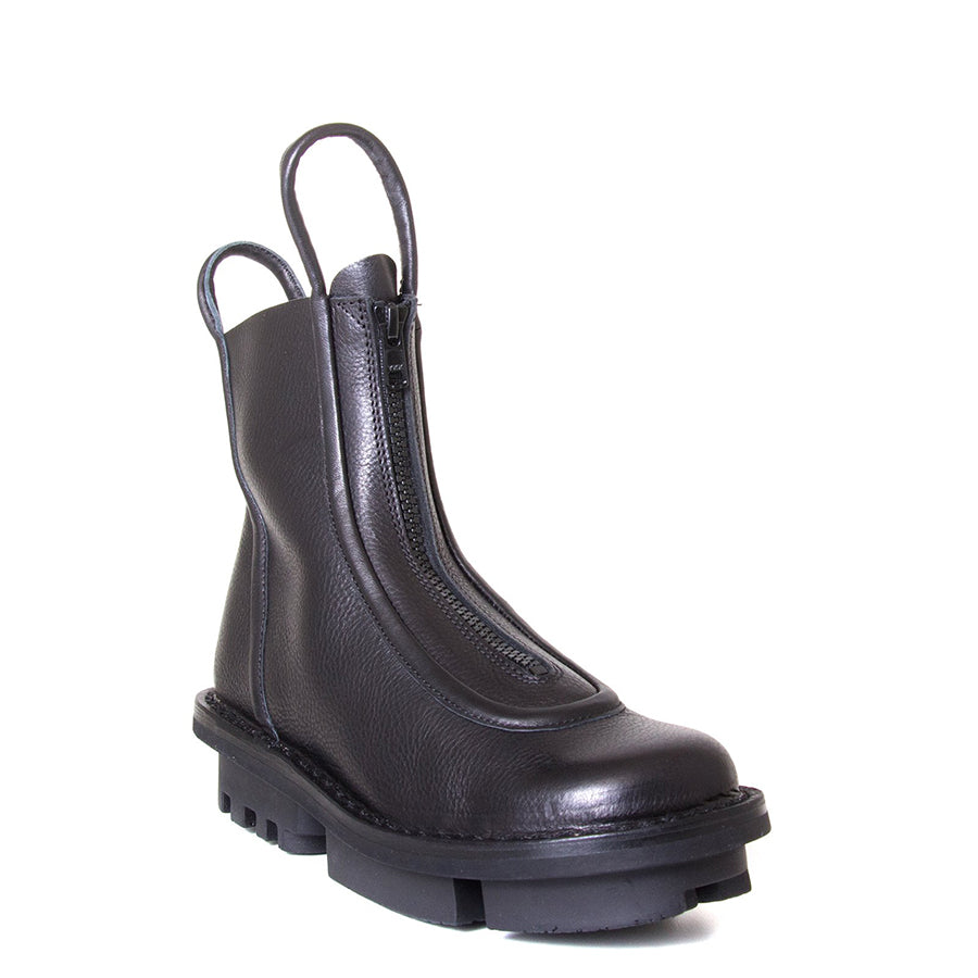 Trippen Micro. Over the ankle Women's black leather boot. Front zipper, leather pull-up loops. 1.5-inch Heel. Front View.