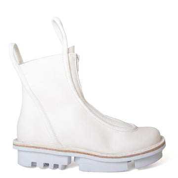 Trippen Micro. Over the ankle Women's white leather boot. Front zipper, leather pull-up loops. 1.5-inch Heel. Side View.