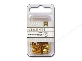 American Crafts Elements Brads - Gold (50pc)