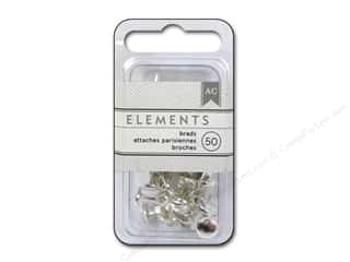 American Crafts Elements Brads - Metallic Silver (50pc)
