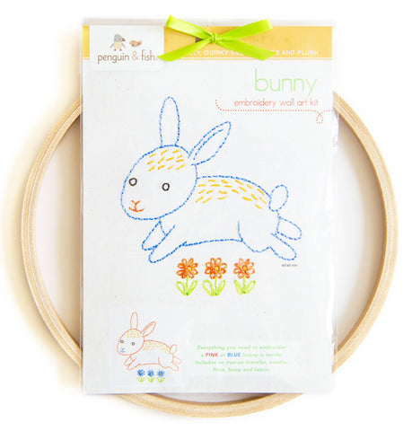 Bunny Embroidery Pattern and Wall Art Kit