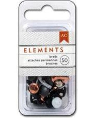 American Crafts Elements Brads - Assorted Metallics (50pc)