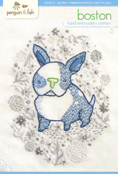 Boston Puppy Hand Embroidery Pattern