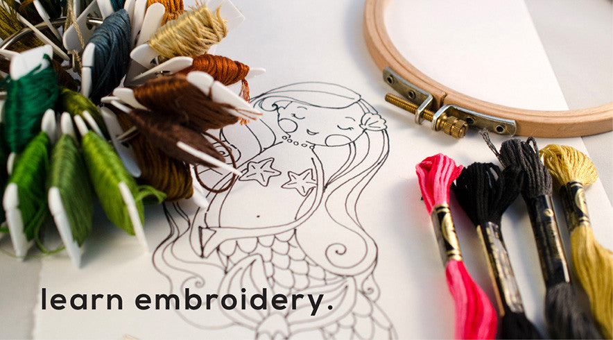 Learn embroidery with one of our learning or project kits.