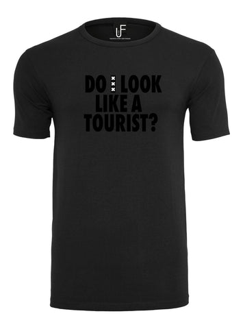 Do i look like a tourist? T-shirt Amsterdam Black on Black Men