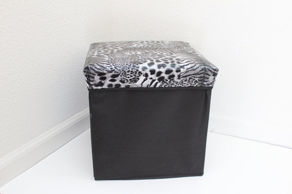 "12-3-2 foldable storage ottoman with lid 12"" W x 12"" D x 12"" H"